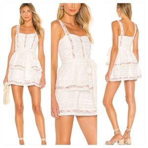 Tularosa Josie white mini Dress floral ruffle